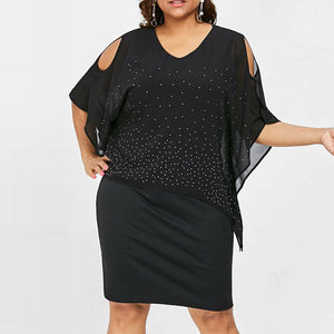 Plus Size Cold Shoulder Overlay Asymmetric Dress - Dots Clothing Store