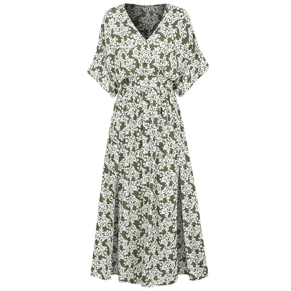 Plus Size Elegant Floral Print Long Dress - Dots Clothing Store
