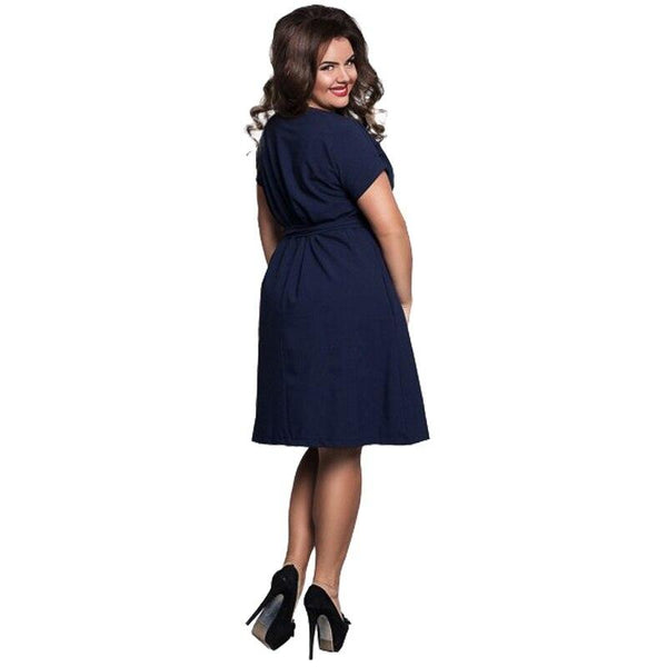 Plus Size Loose Dress with belts - Dots Clothing Store