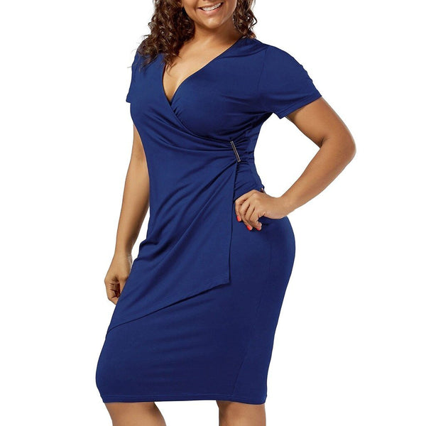 Plus Size Solid Metal Button Bodycon Dress - Dots Clothing Store