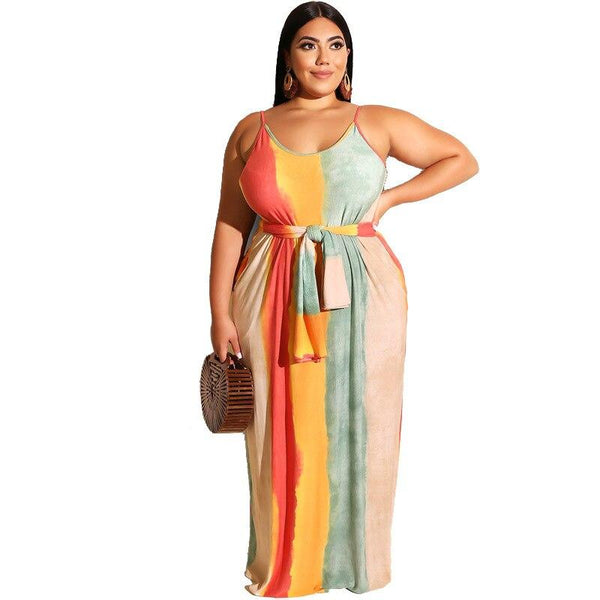 Plus Size Striped Maxi Tank Dress - Dots Clothing Store