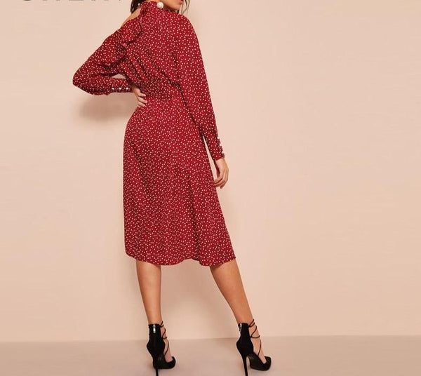 Polka Dot Print Ruffle Trim Dress - Dots Clothing Store