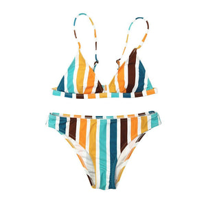 Rainbow Striped Print Swimsuit - Dots Clothing Store