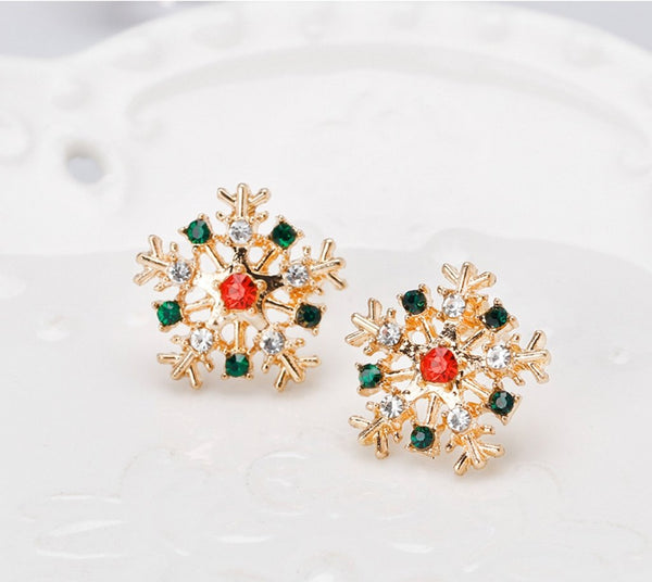 Red and blue crystals snowflake stud earrings - Dots Clothing Store