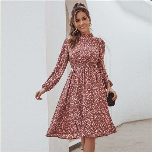 Red Ditsy Floral Print Stand Collar Casual Dress - Dots Clothing Store