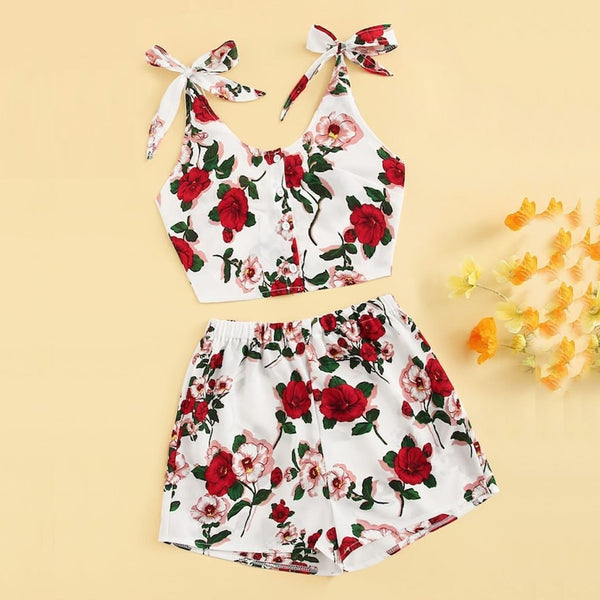 Red Floral Print Bow Knot Crop Top and Shorts - Dots Clothing Store