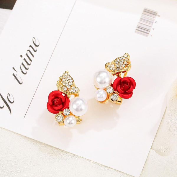 Red rose flower earrings - Dots Clothing Store