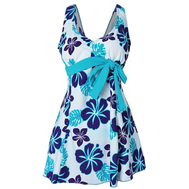 Retro blue floral print beachwear - Dots Clothing Store