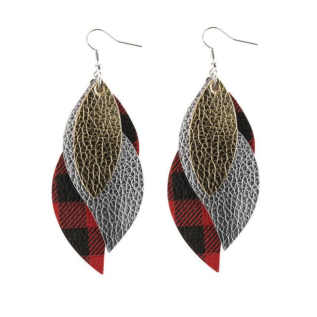 Retro double leaf earrings - Dots Clothing Store