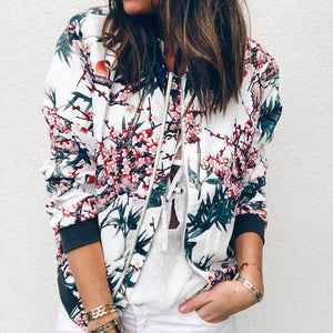 Retro Floral Zipper Up Bomber Casual Jacket - Dots Clothing Store
