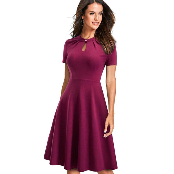 Retro Purple Flared Summer Dress - Dots Clothing Store