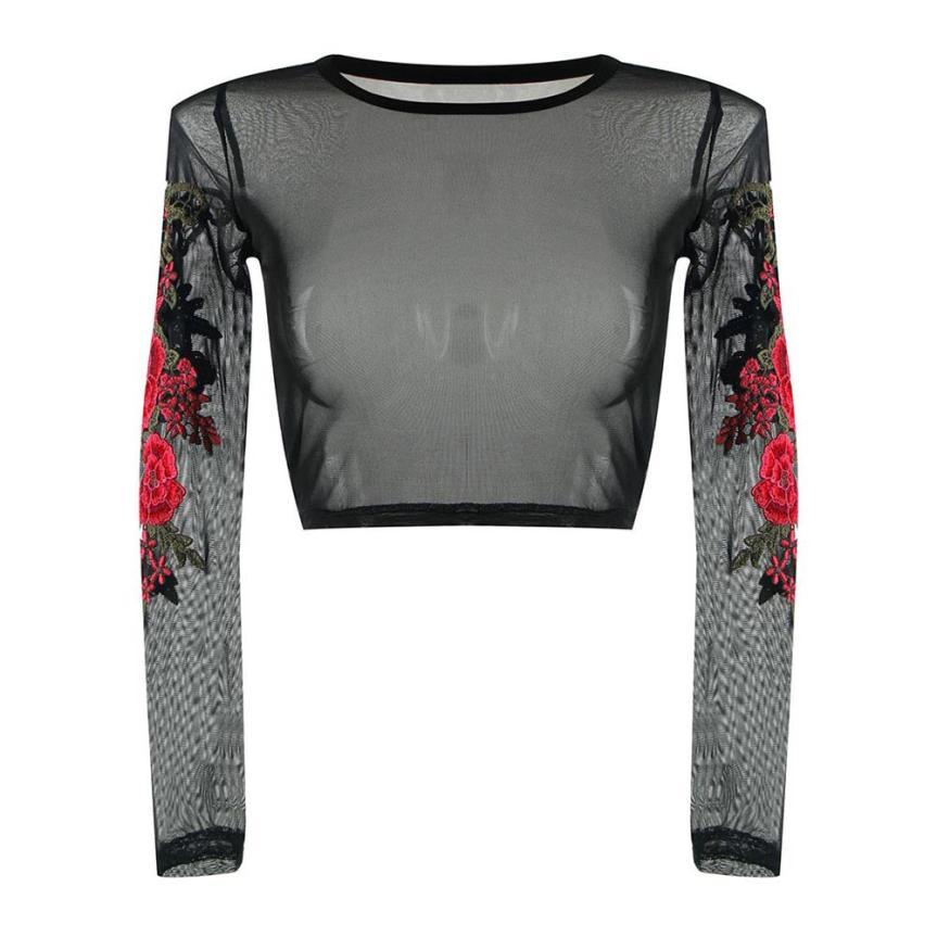 Rose Lace Appliques Long Sleeves Top - Dots Clothing Store