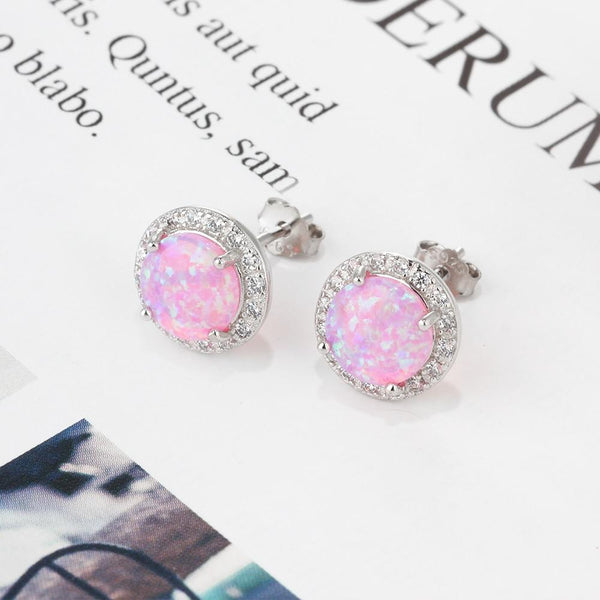 Round opal earrings - Dots Clothing Store