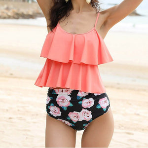 Ruffle Floral Printed Swimsuit - Dots Clothing Store