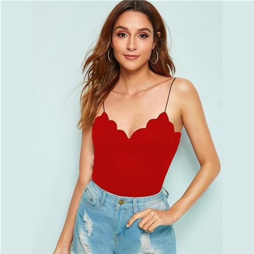 Scalloped Trim Rib-Knit Cami Top - Dots Clothing Store