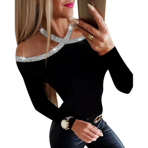 Sequined collar hollow out blouse - Dots Clothing Store