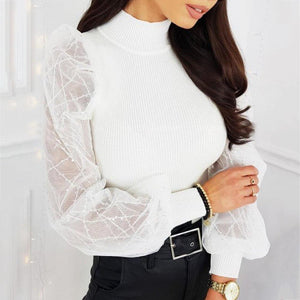 Sequined puff sleeve blouse - Dots Clothing Store