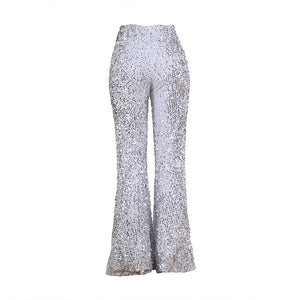 Sequins glitter bell bottom pants - Dots Clothing Store