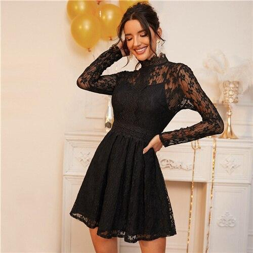 Sheer Lace Glamorous Overlay Dress - Dots Clothing Store