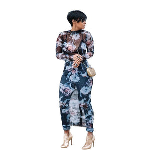 Sheer Mesh Floral Long Sleeve Maxi Dress - Dots Clothing Store