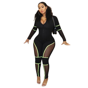 Sheer Mesh Green Detailing Bandage Jumpsuit - Dots Clothing Store