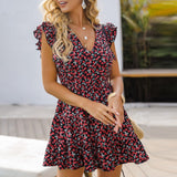 Short Petal Sleeve Floral Print Short Dress - Dots Clothing Store