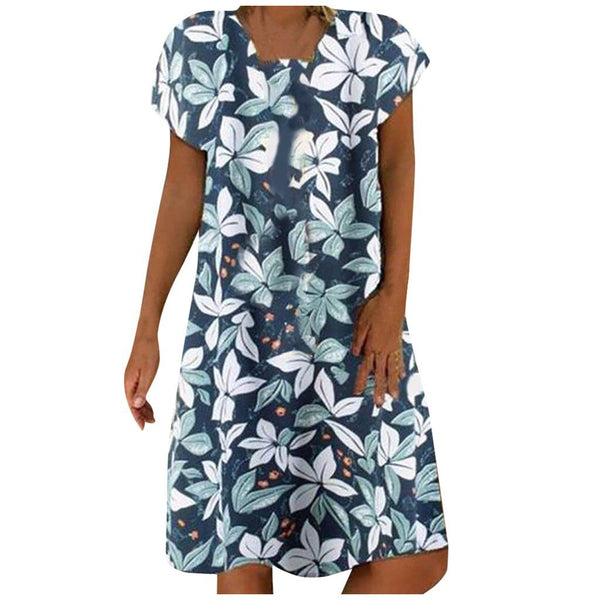 Short-Sleeve Cotton Floral Printed Sundress - Dots Clothing Store
