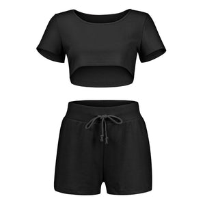 Short-Sleeve Crop Top With Bandage Elastic High Waist Shorts - Dots Clothing Store
