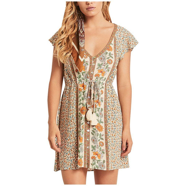 Short Sleeve Floral Boho Mini Dress - Dots Clothing Store