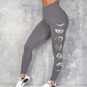 Side lunar cycle print workout leggings - Dots Clothing Store