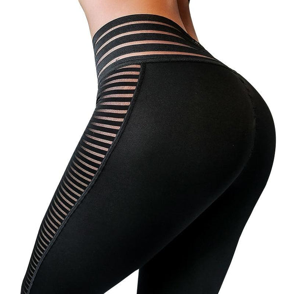 Side Stripes Push Up Workout Leggings - Dots Clothing Store