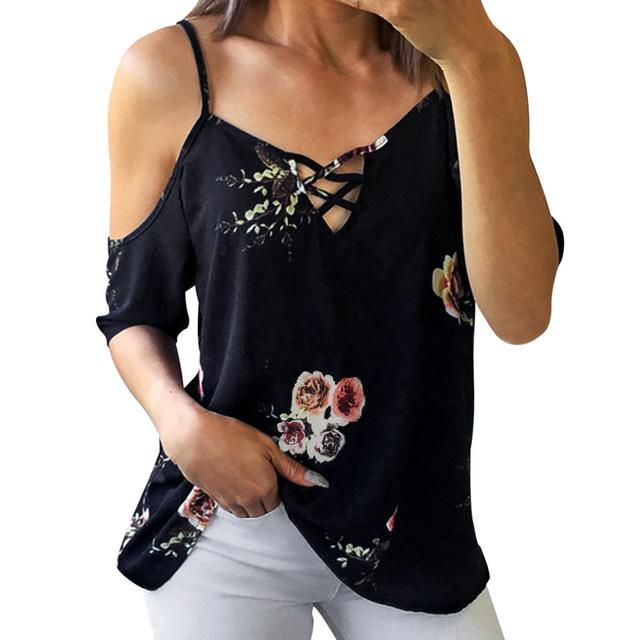 Simple floral off shoulder shirt - Dots Clothing Store