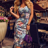 Sleeveless Bodycon Flowers Dress - Dots Clothing Store