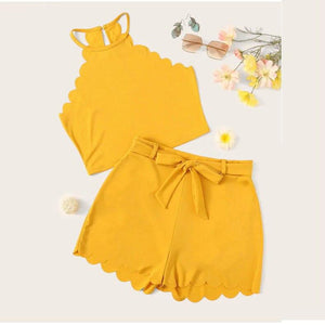 Sleeveless Halter Blouse and Bow Sashes Shorts Set - Dots Clothing Store