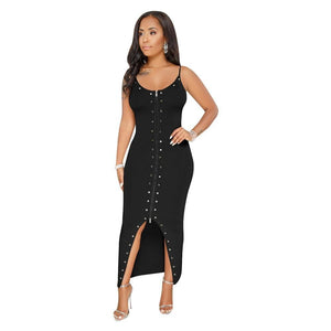 Sleeveless High Waist Double-sided Zipper Rivet Dress - Dots Clothing Store