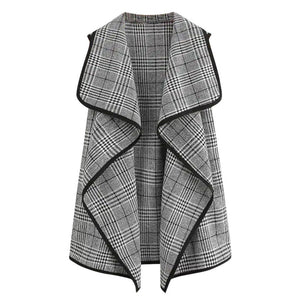 Sleeveless Plaid Jacket - Dots Clothing Store