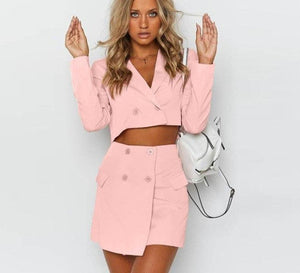 Slim Short Jacket and High Waist Mini Skirt - Dots Clothing Store