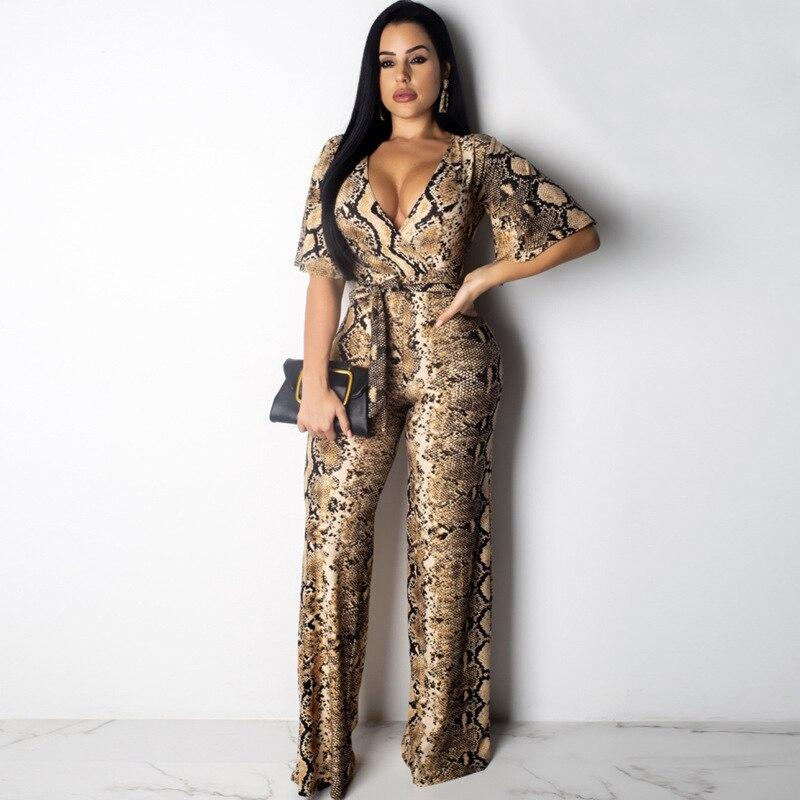 Snake Print Strapless Jumpsuit - Dots Clothing Store
