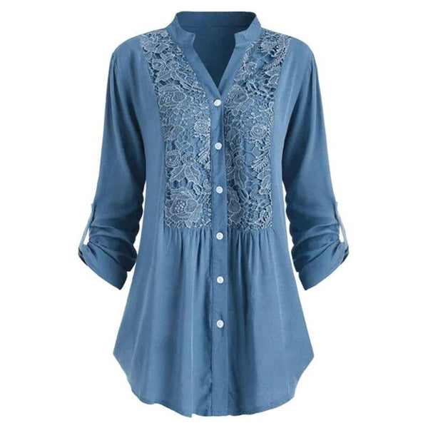 Solid Lace Panel Button-up Shirt - Dots Clothing Store