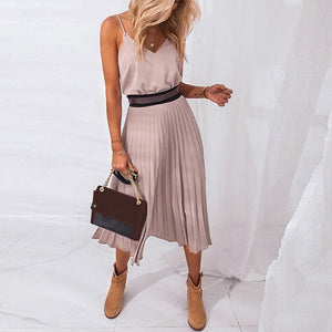 Solid Sleeveless V-Neck Suspender Long Dress - Dots Clothing Store