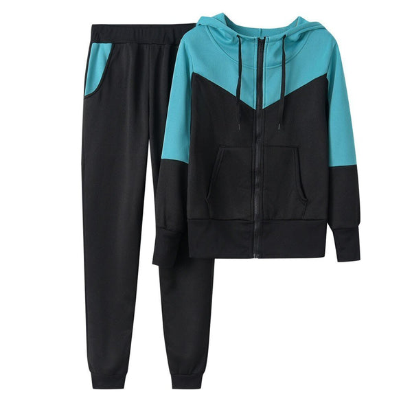 Splice Zipper Hooded Top and Long Pants Set - Dots Clothing Store