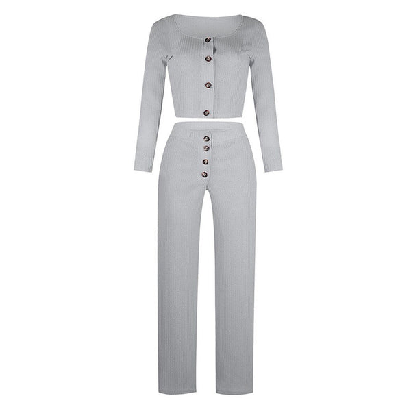 Square Collar Top and Long Pants Set - Dots Clothing Store
