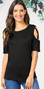 Standing close cold shoulder tops - Dots Clothing Store