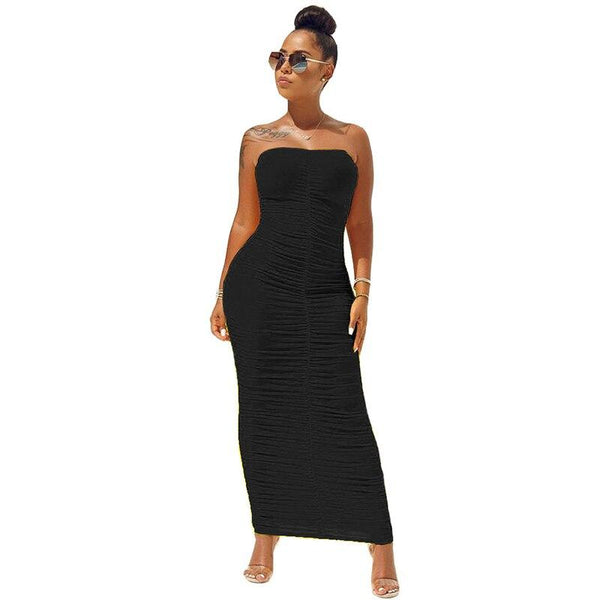Strapless Off Shoulder Pleated Maxi Dress - Dots Clothing Store