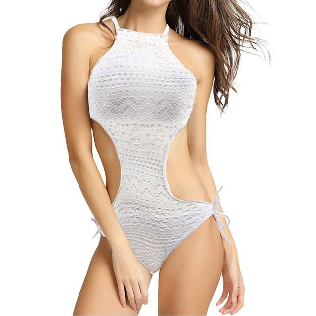 Strappy hollow decorative monokini - Dots Clothing Store