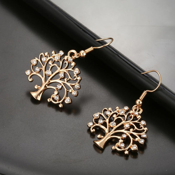 Studded crystal tree of life drop earrings - Dots Clothing Store
