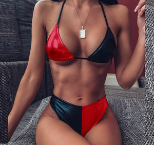 Summer Fashion Patchwork Leather Bikini - Dots Clothing Store
