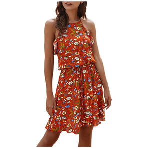 Summer Floral Print Halter Mini Dress - Dots Clothing Store