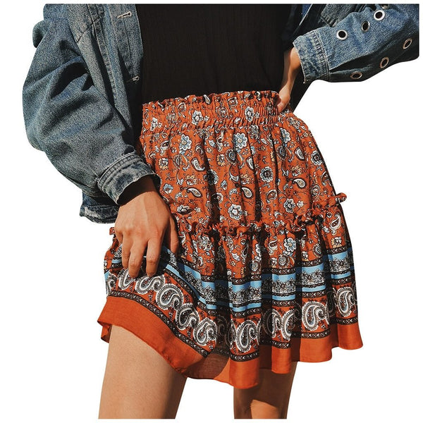 Summer flowers ruffled skirt - Dots Clothing Store