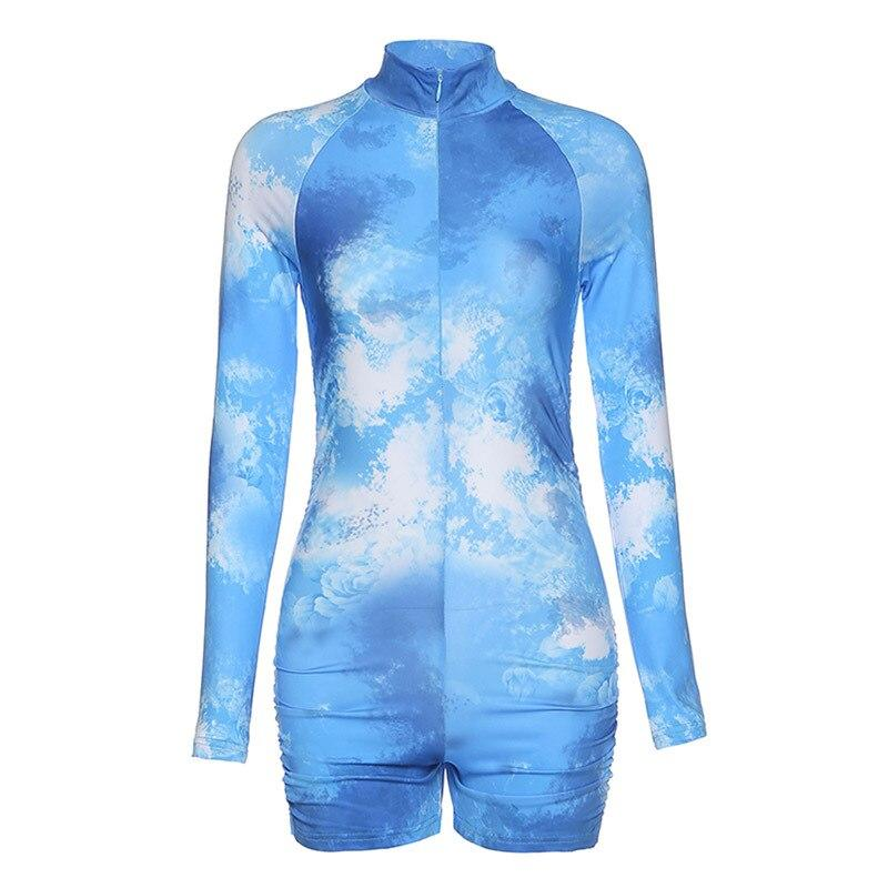 Tie-Dye Bodycon Ruched Rompers - Dots Clothing Store